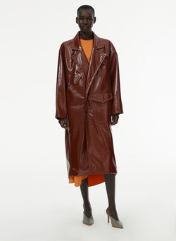 Patent Cocoon Coat Rusty Brown-12