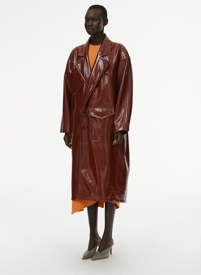 Patent Cocoon Coat Rusty Brown-13