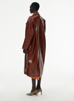 Patent Cocoon Coat Rusty Brown-14