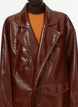 Patent Cocoon Coat Rusty Brown-15