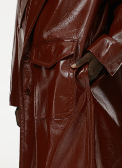 Patent Cocoon Coat Rusty Brown-16