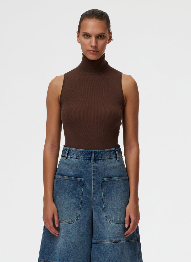 Feather Weight Ribbed Turtleneck Sweater Tank Wood-1