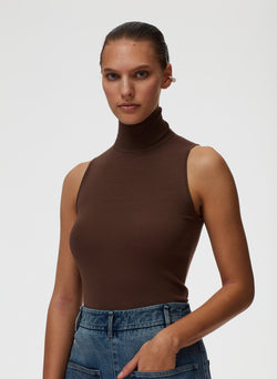 Feather Weight Ribbed Turtleneck Sweater Tank Wood-6