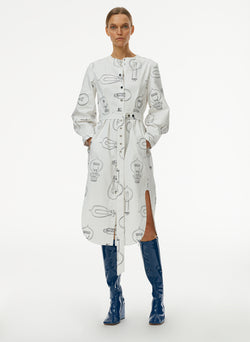 Lumiere Print Shirtdress With Removable Belt White Print Multi-1