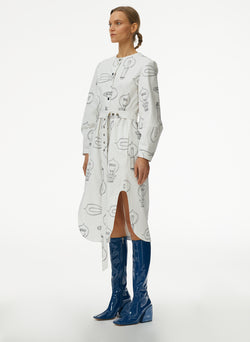 Lumiere Print Shirtdress With Removable Belt White Print Multi-2