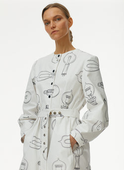 Lumiere Print Shirtdress With Removable Belt White Print Multi-4