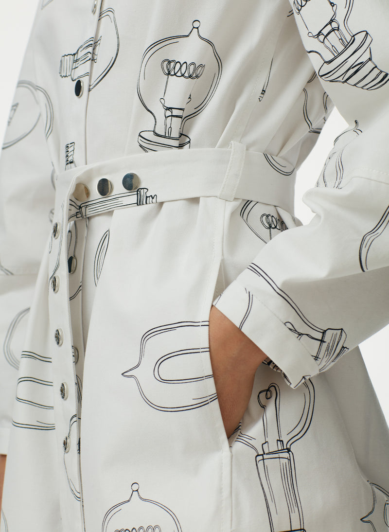 Lumiere Print Shirtdress With Removable Belt White Print Multi-5