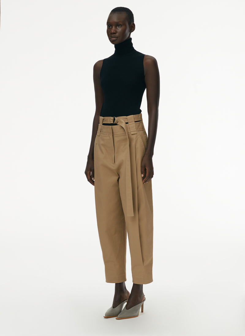 Myriam Twill Double Waistband Sculpted Pant Khaki-2
