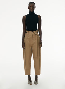 Myriam Twill Double Waistband Sculpted Pant Khaki-1
