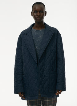 Quilted Oversized Blazer Navy-4