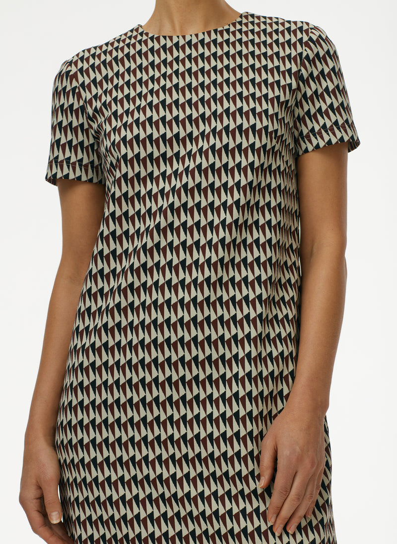 Silas Jacquard T-Shirt Dress Rusty Brown Multi-4