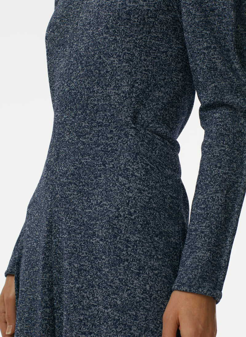 Speckled Knit Origami Dress Navy Melange-3