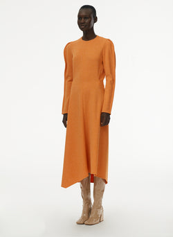 Speckled Knit Origami Dress Orange-6