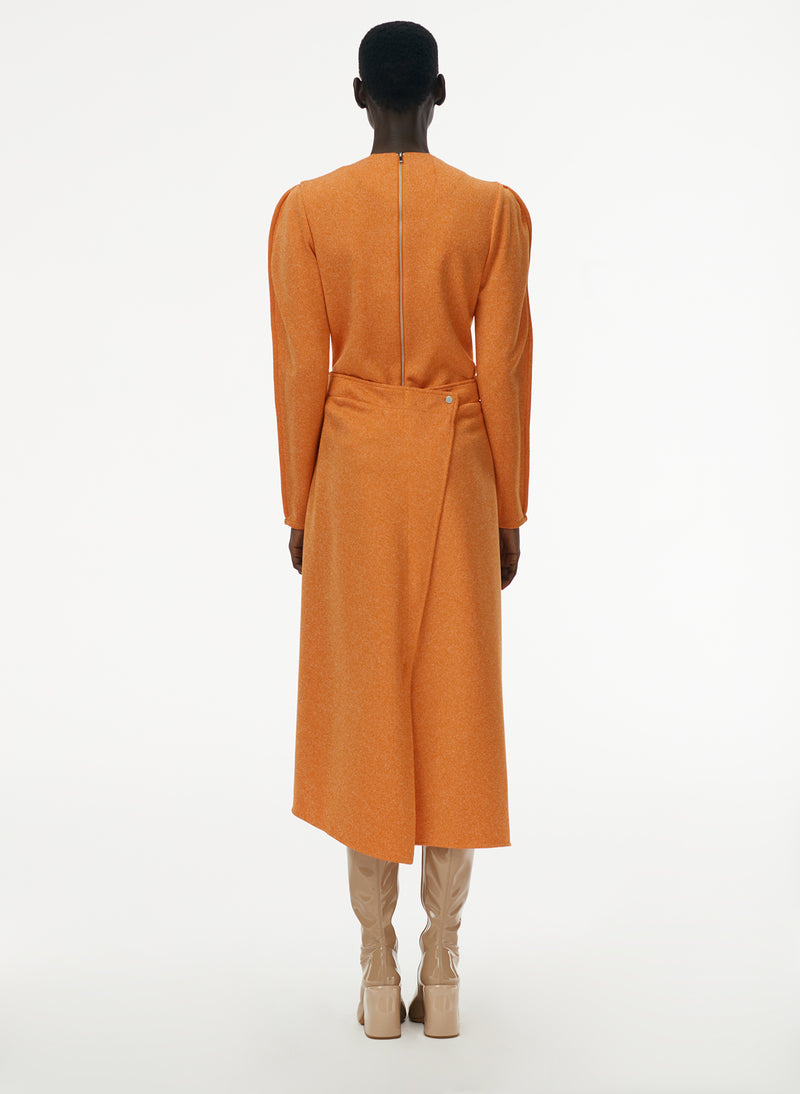 Speckled Knit Origami Dress Orange-7