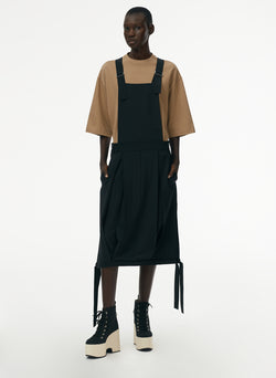 Tropical Wool Overall Skirt Black-5