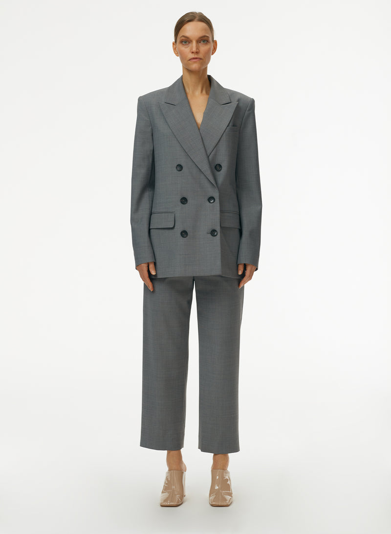 Tropical Wool Double Breasted Blazer Heather Grey-1