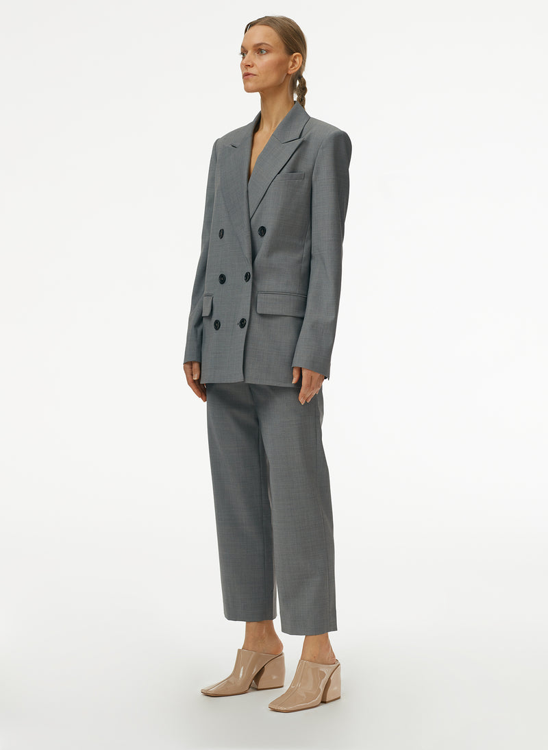 Tropical Wool Double Breasted Blazer Heather Grey-2
