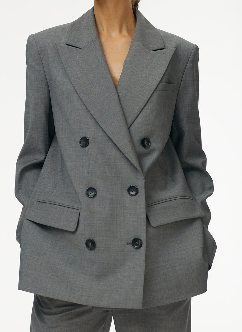 Tropical Wool Double Breasted Blazer Heather Grey-4
