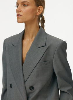 Tropical Wool Double Breasted Blazer Heather Grey-5