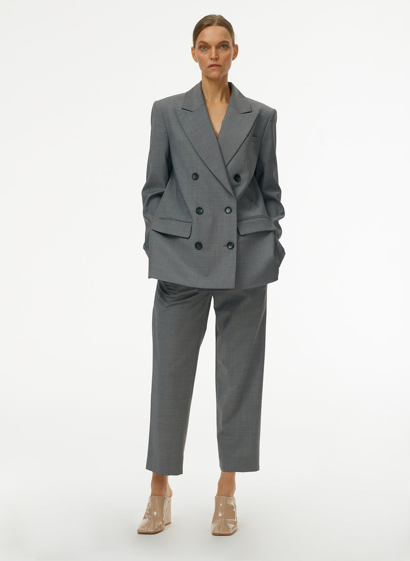 Tropical Wool Double Breasted Blazer Heather Grey-6