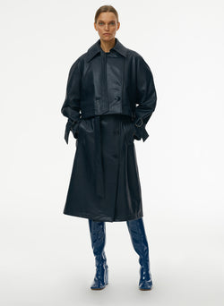 Vegan Leather Convertible Trench Dark Navy-1