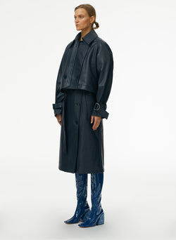 Vegan Leather Convertible Trench Dark Navy-2