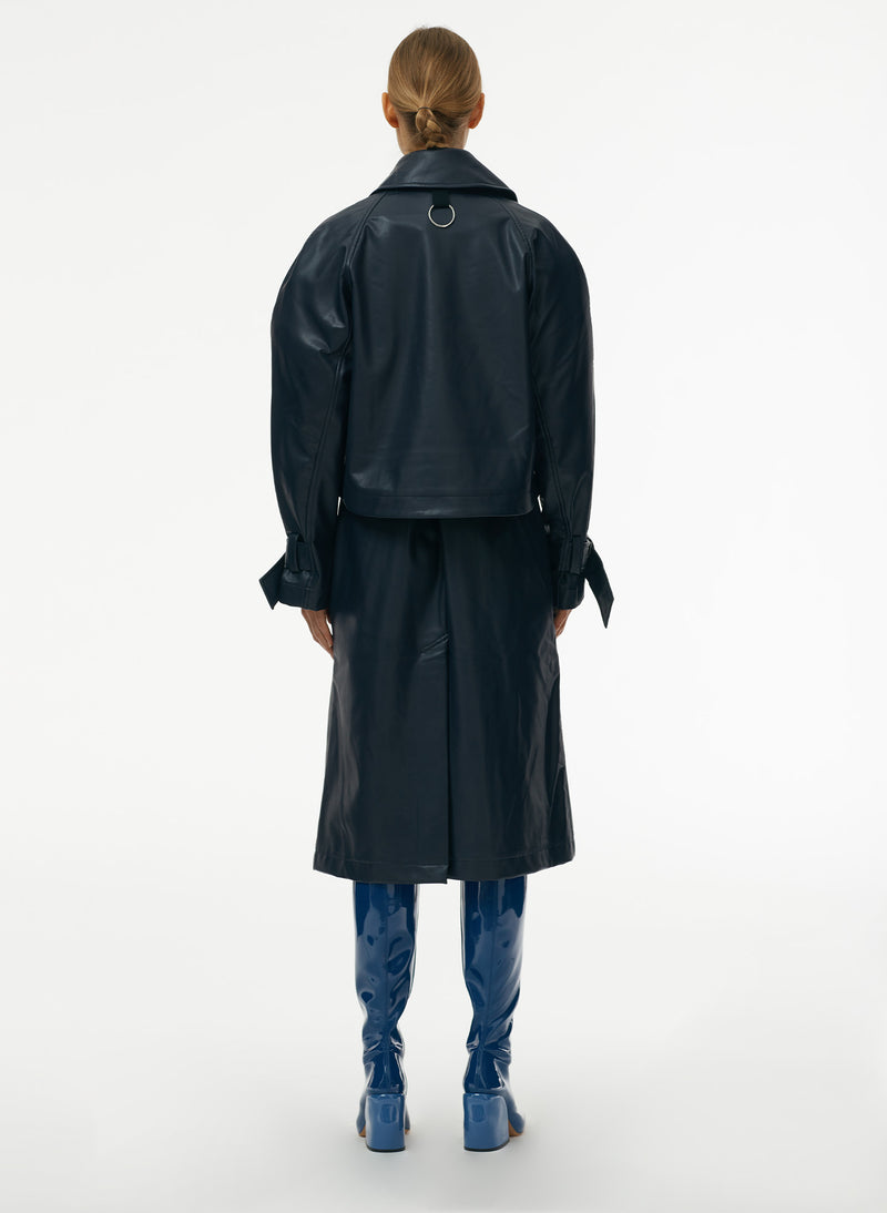 Vegan Leather Convertible Trench Dark Navy-3