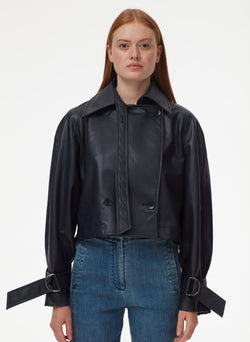 Vegan Leather Convertible Trench Dark Navy-6