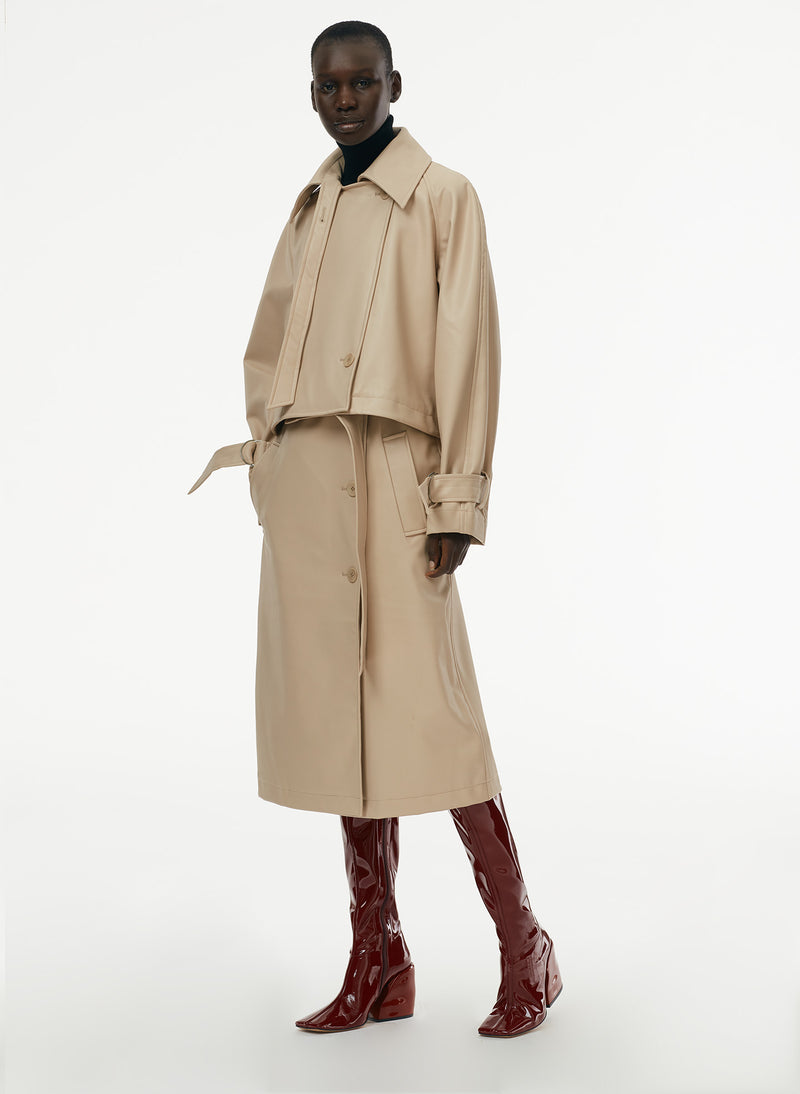 Vegan Leather Convertible Trench Tan-7