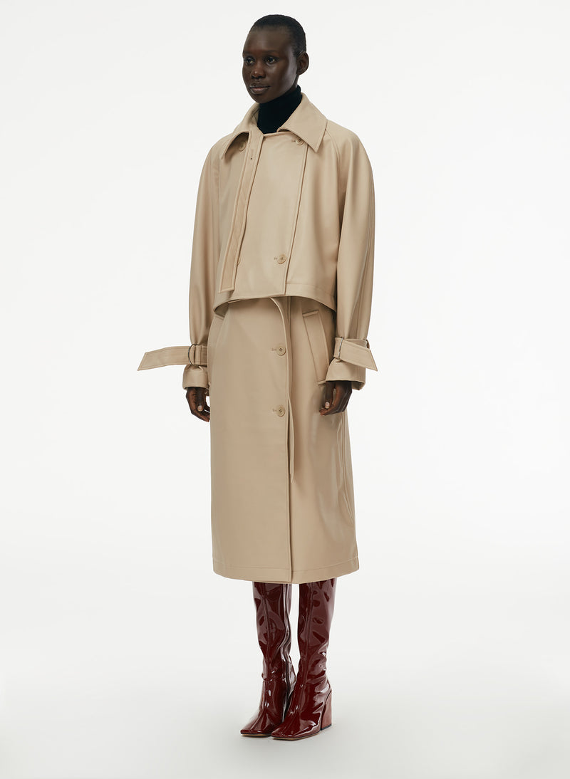 Vegan Leather Convertible Trench Tan-8