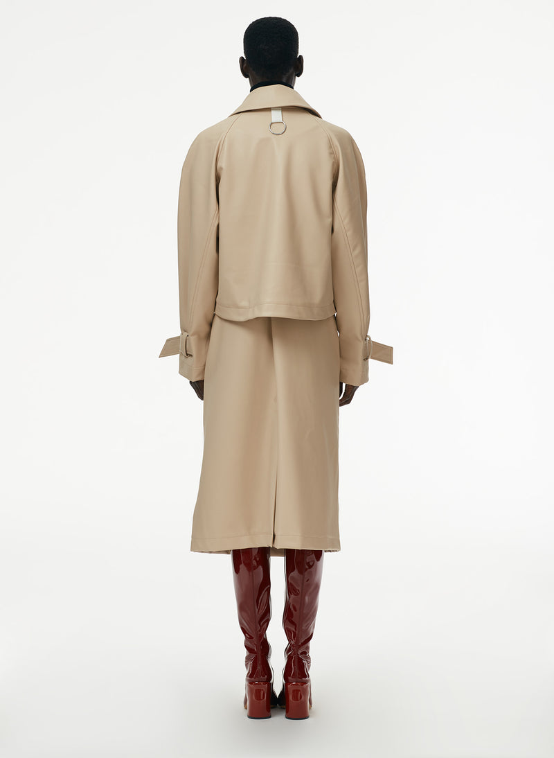Vegan Leather Convertible Trench Tan-9