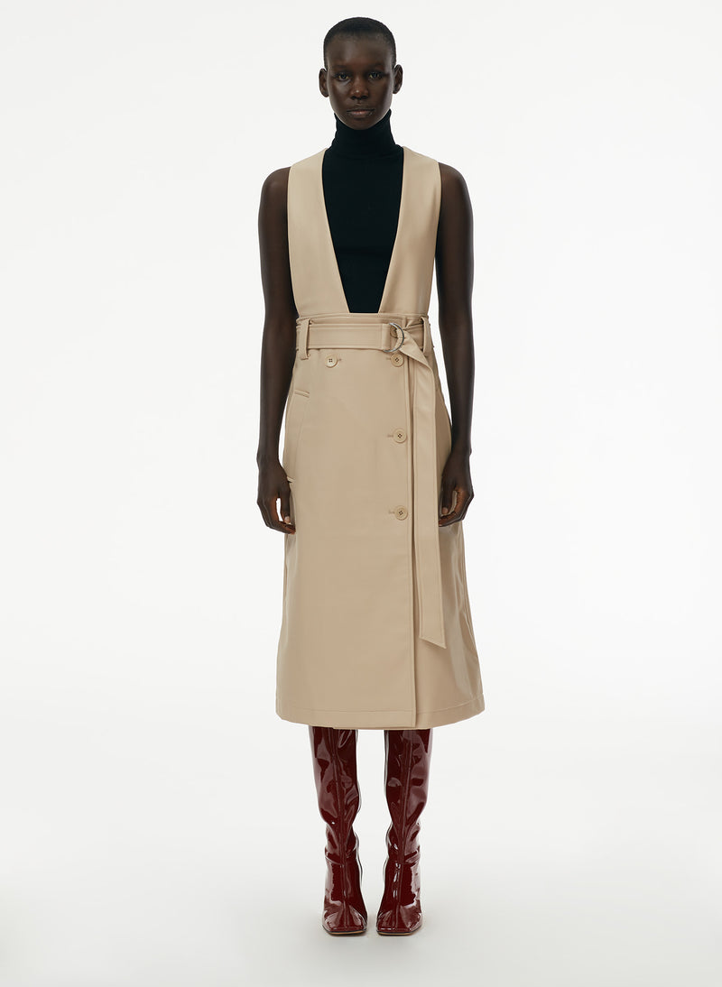 Vegan Leather Convertible Trench Tan-10