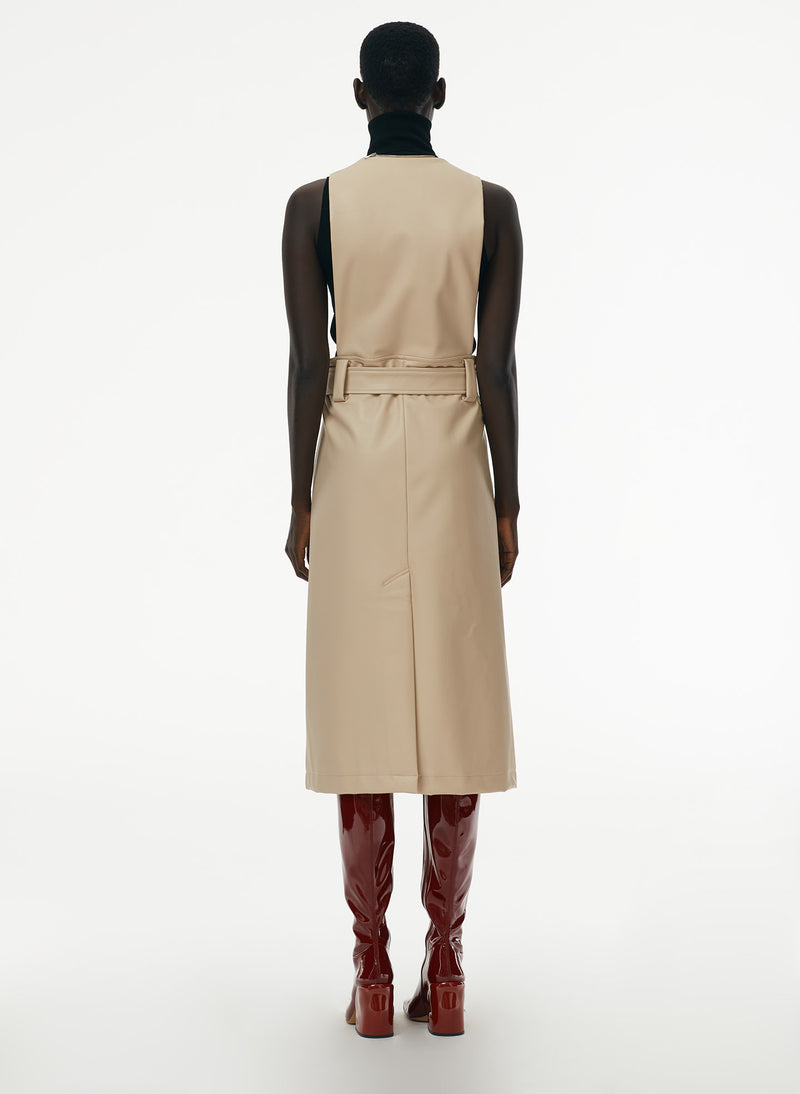 Vegan Leather Convertible Trench Tan-11