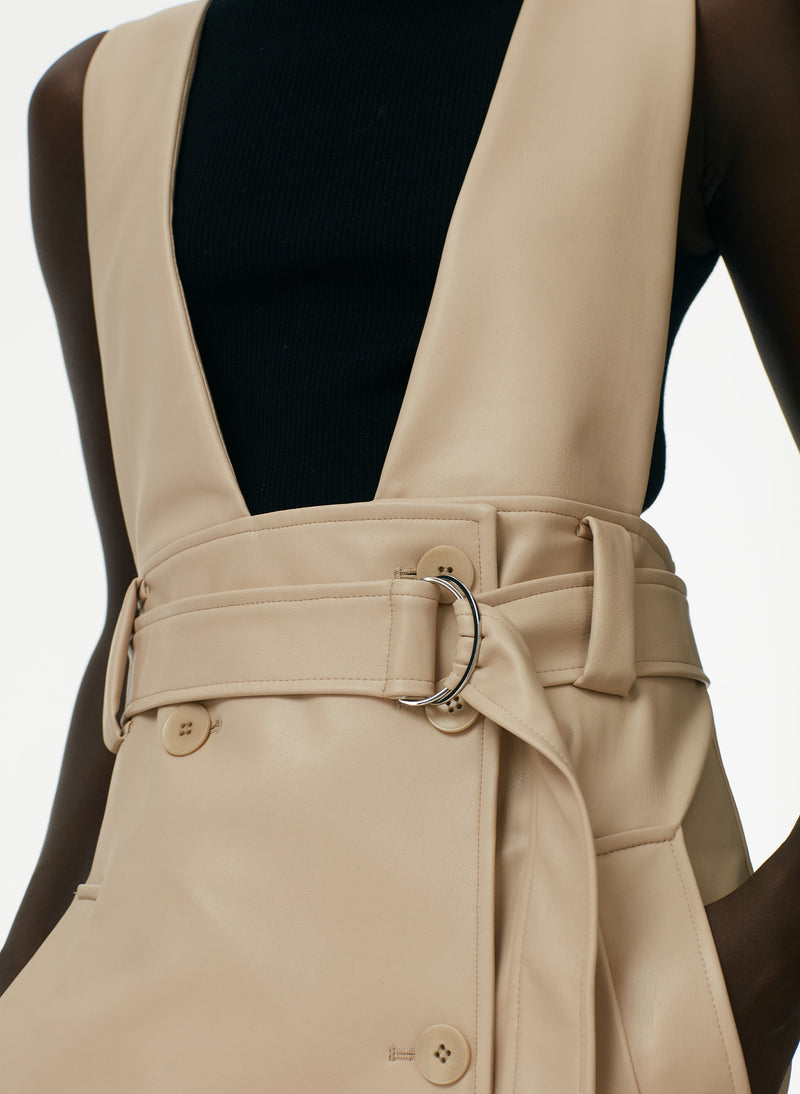 Vegan Leather Convertible Trench Tan-12