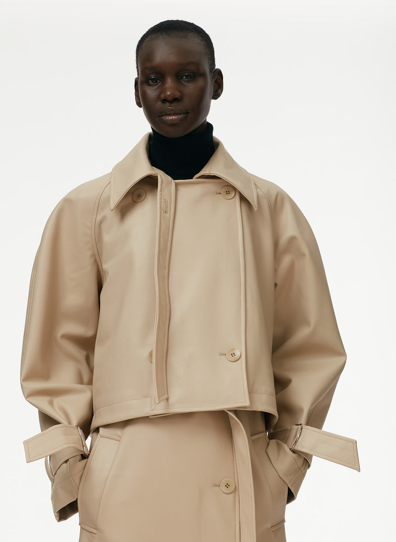 Vegan Leather Convertible Trench Tan-13