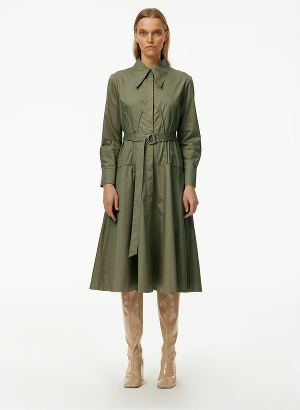 Eco Poplin Corset Shirtdress With Removable Belt