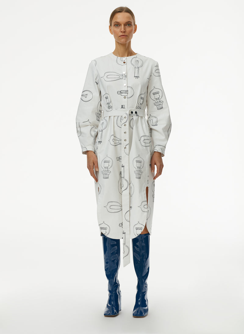 Lumiere Print Shirtdress With Removable Belt Lumiere Print Shirtdress With Removable Belt