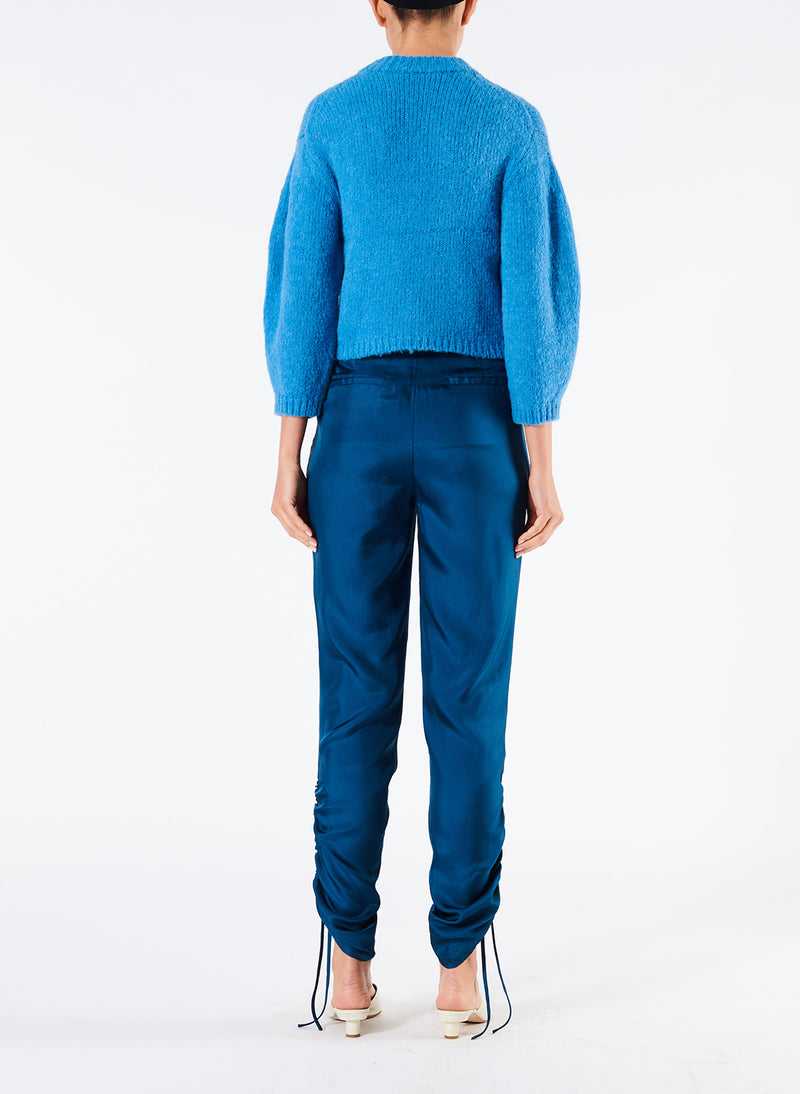 Mendini Twill Shirred Pants Teal Blue-2