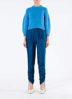 Mendini Twill Shirred Pants Teal Blue-1