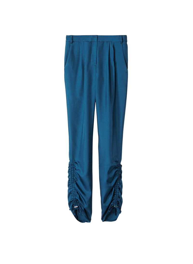 Mendini Twill Shirred Pants Teal Blue-7