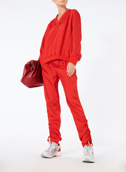 Mendini Twill V-Neck Top Tomato Red-5