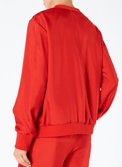 Mendini Twill V-Neck Top Tomato Red-2