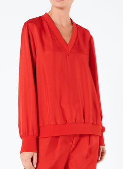 Mendini Twill V-Neck Top Tomato Red-1