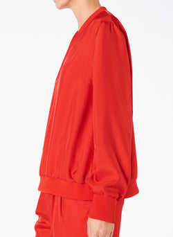Mendini Twill V-Neck Top Tomato Red-3