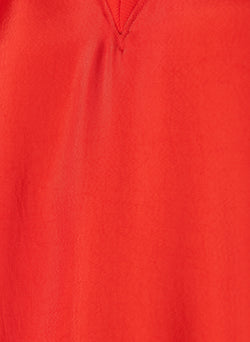 Mendini Twill V-Neck Top Tomato Red-4