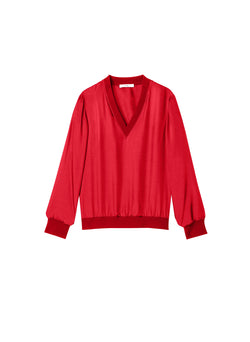 Mendini Twill V-Neck Top Tomato Red-6