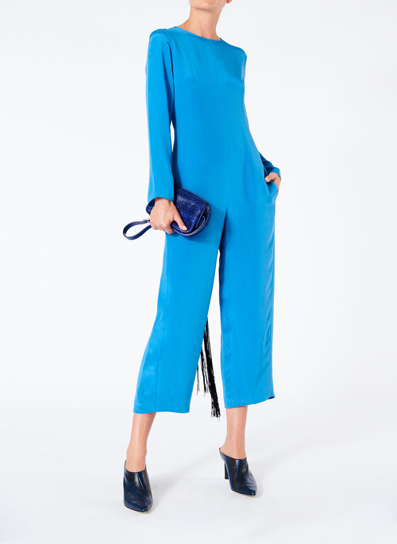 Silk Jumpsuit with Fringe Sky Blue-5