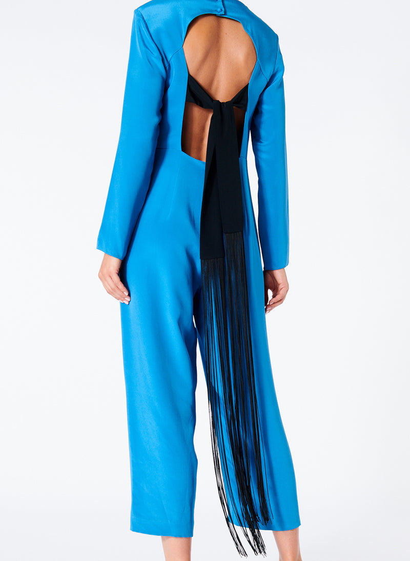 Silk Jumpsuit with Fringe Sky Blue-2