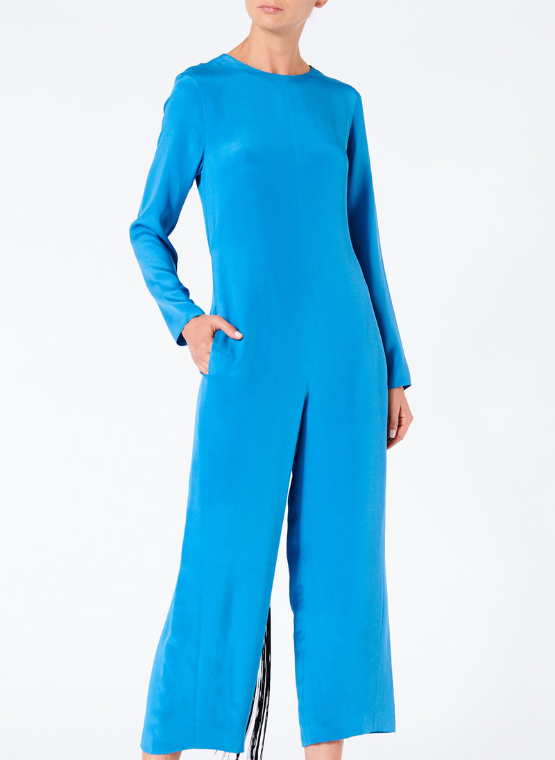 Silk Jumpsuit with Fringe Sky Blue-1
