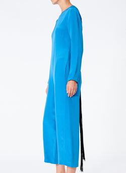 Silk Jumpsuit with Fringe Sky Blue-3